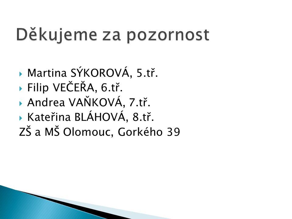  Martina SÝKOROVÁ, 5.tř.  Filip VEČEŘA, 6.tř.  Andrea VAŇKOVÁ, 7.tř.