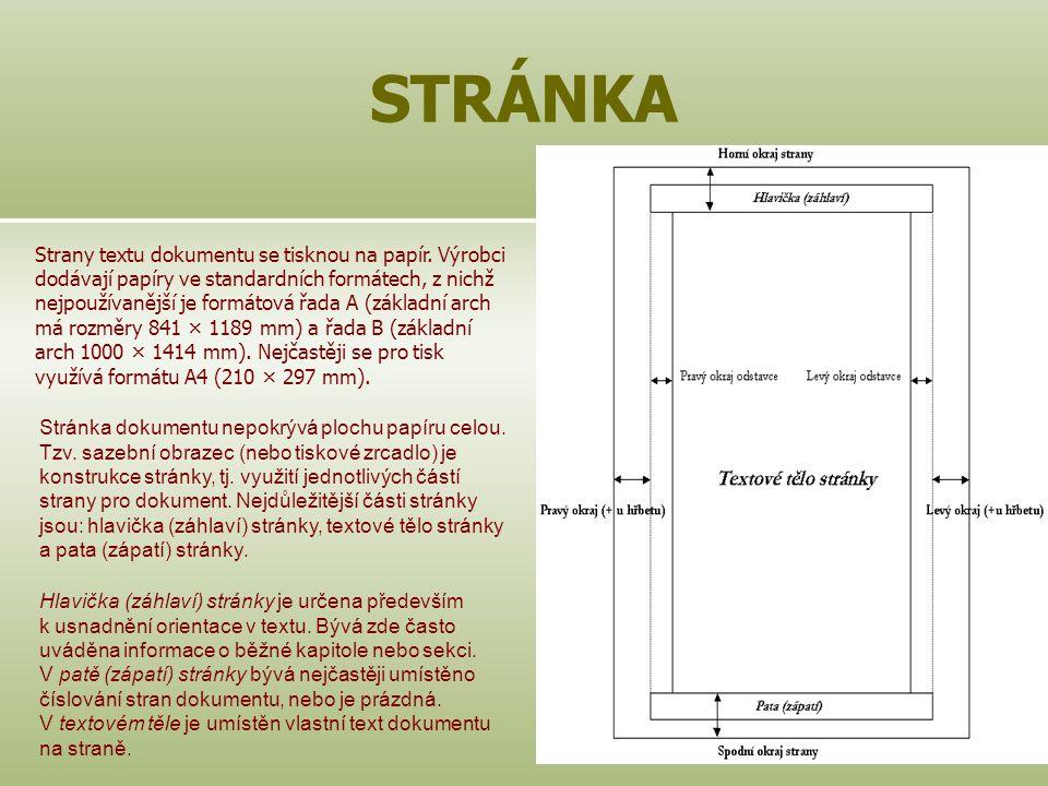14 STRÁNKA Strany textu dokumentu se tisknou na papír. Výrobci dodávají papíry ve standardních formátech, z nichž nejpoužívanější je formátová řada A