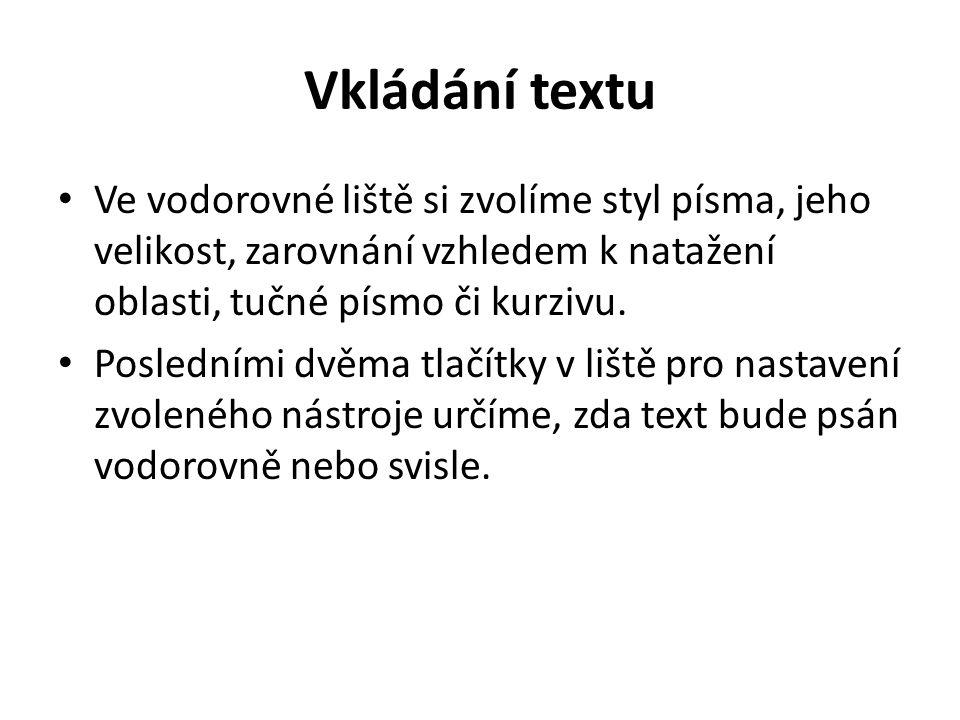 Vkládání textu Ve vodorovné liště si zvolíme styl písma, jeho velikost, zarovnání vzhledem k natažení oblasti, tučné písmo či kurzivu. Posledními dvěm