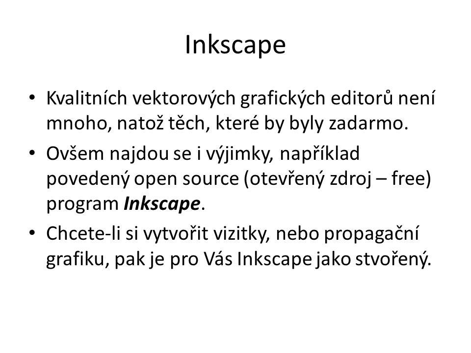 Inkscape Kvalitních vektorových grafických editorů není mnoho, natož těch, které by byly zadarmo. Ovšem najdou se i výjimky, například povedený open s
