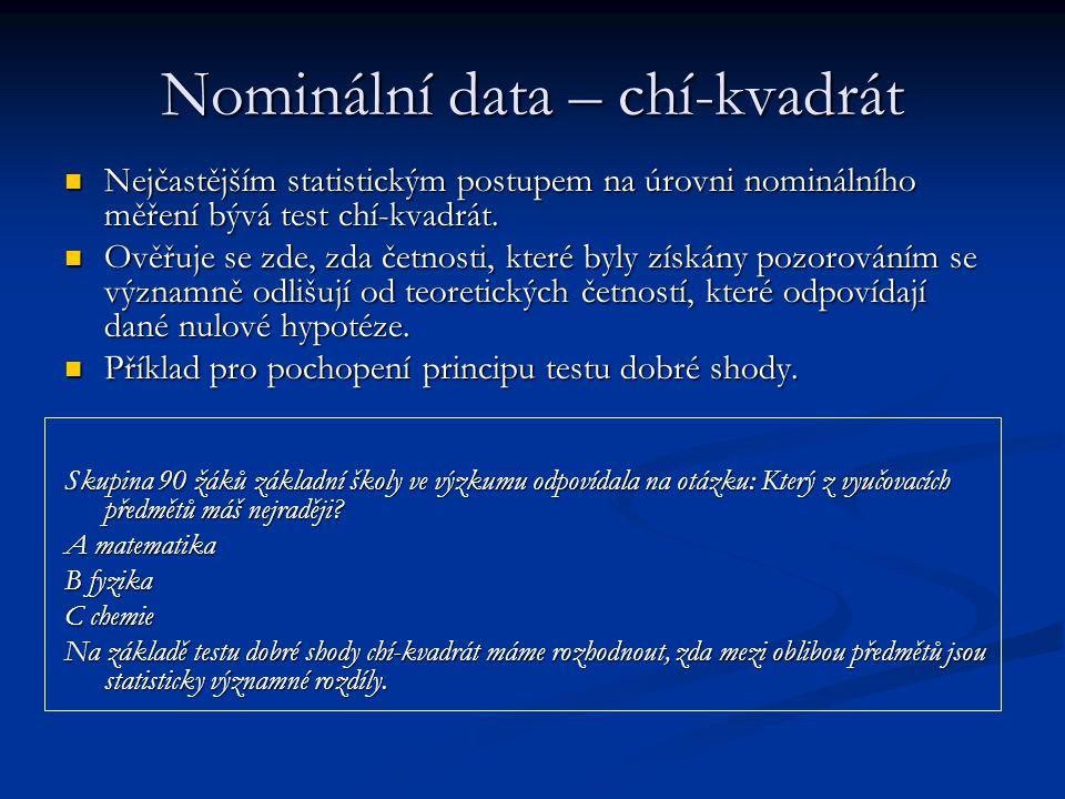 Nominální data – chí-kvadrát Nejčastějším statistickým postupem na úrovni nominálního měření bývá test chí-kvadrát. Nejčastějším statistickým postupem
