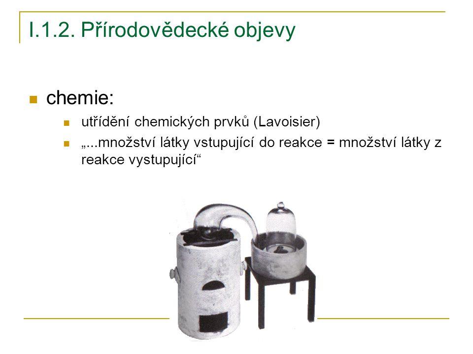 """I.1.2. Přírodovědecké objevy chemie: utřídění chemických prvků (Lavoisier) """"...množství látky vstupující do reakce = množství látky z reakce vystupují"""