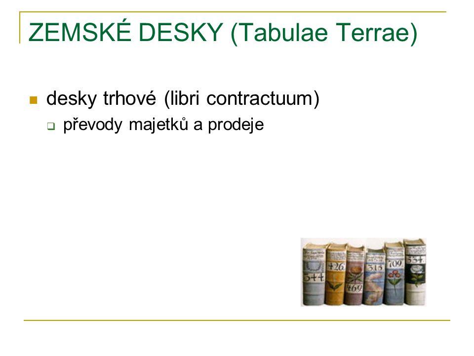 ZEMSKÉ DESKY (Tabulae Terrae) desky trhové (libri contractuum)  převody majetků a prodeje