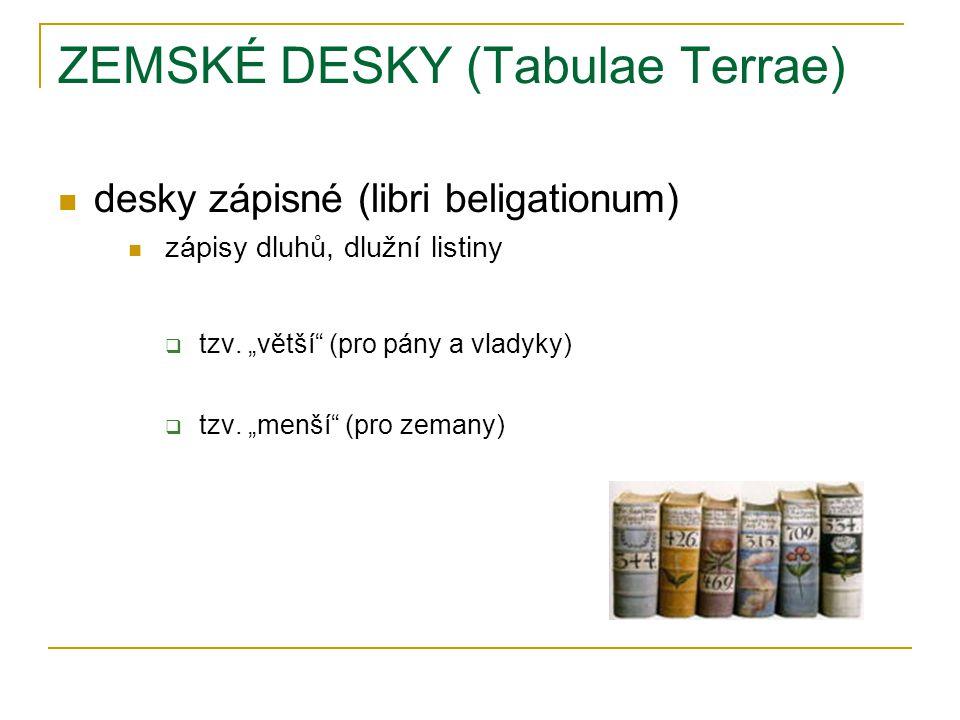 ZEMSKÉ DESKY (Tabulae Terrae) desky zápisné (libri beligationum) zápisy dluhů, dlužní listiny  tzv.