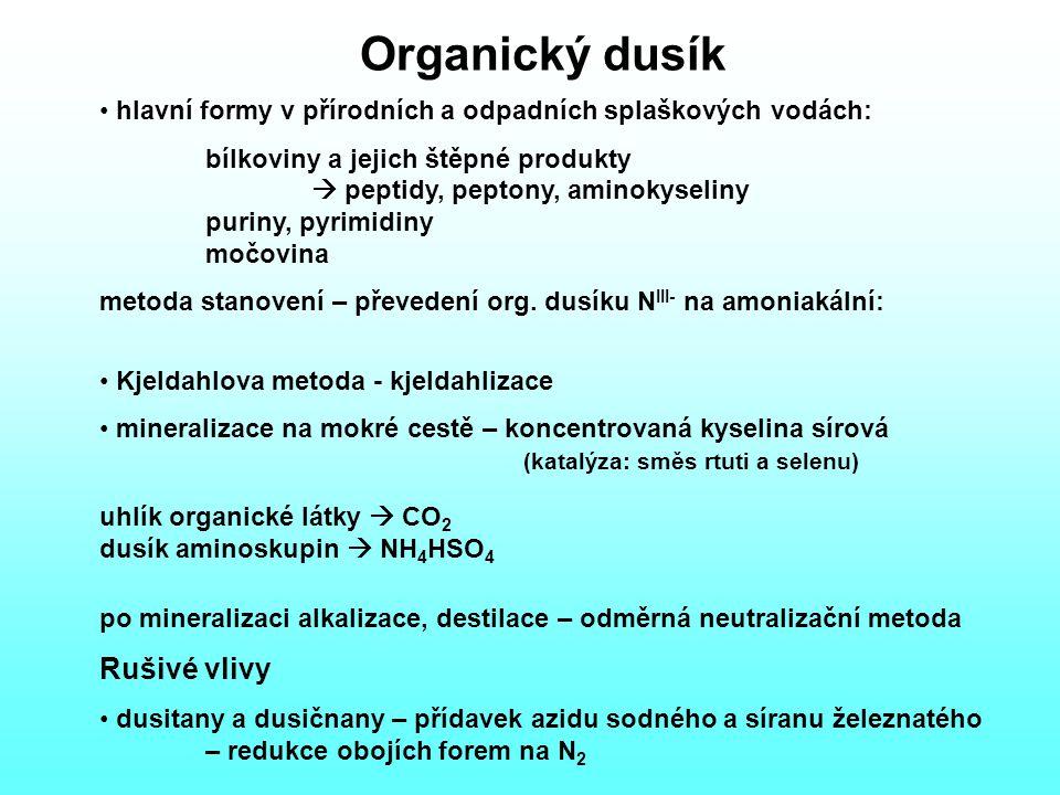 Organický dusík hlavní formy v přírodních a odpadních splaškových vodách: bílkoviny a jejich štěpné produkty  peptidy, peptony, aminokyseliny puriny, pyrimidiny močovina metoda stanovení – převedení org.