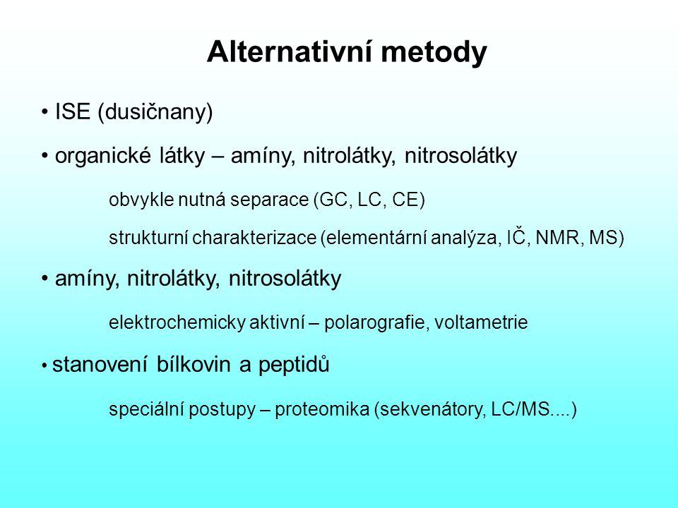 Alternativní metody ISE (dusičnany) organické látky – amíny, nitrolátky, nitrosolátky obvykle nutná separace (GC, LC, CE) strukturní charakterizace (elementární analýza, IČ, NMR, MS) amíny, nitrolátky, nitrosolátky elektrochemicky aktivní – polarografie, voltametrie stanovení bílkovin a peptidů speciální postupy – proteomika (sekvenátory, LC/MS....)