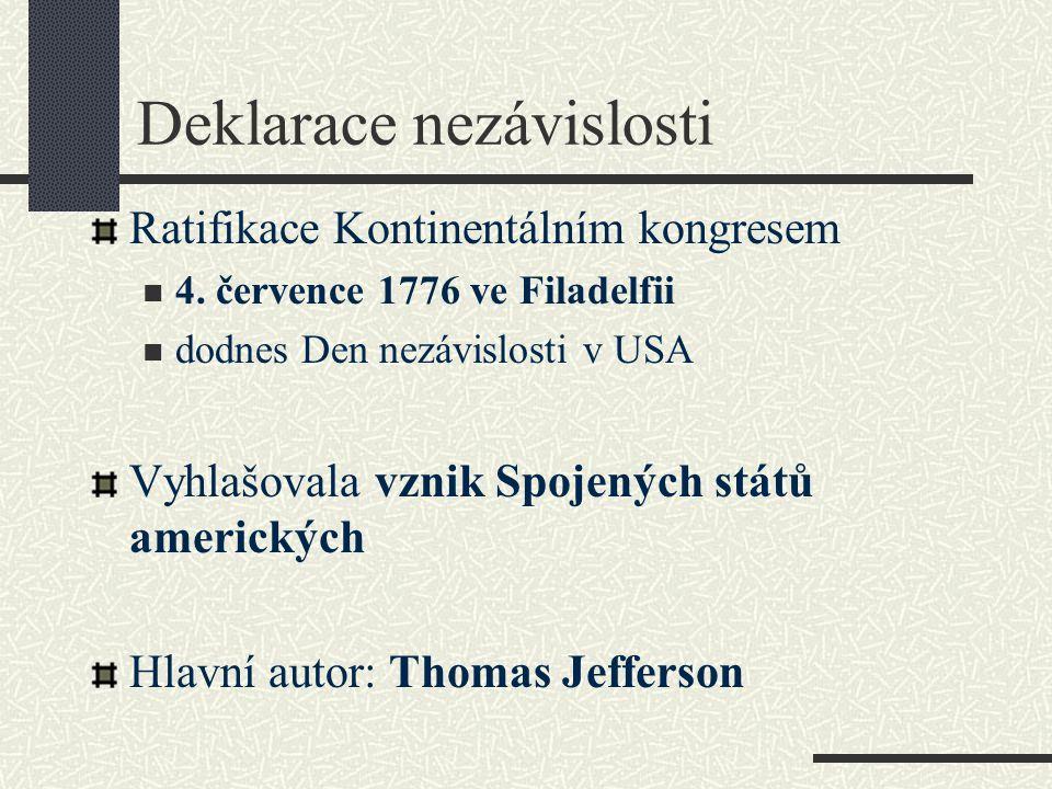 Deklarace nezávislosti Ratifikace Kontinentálním kongresem 4.
