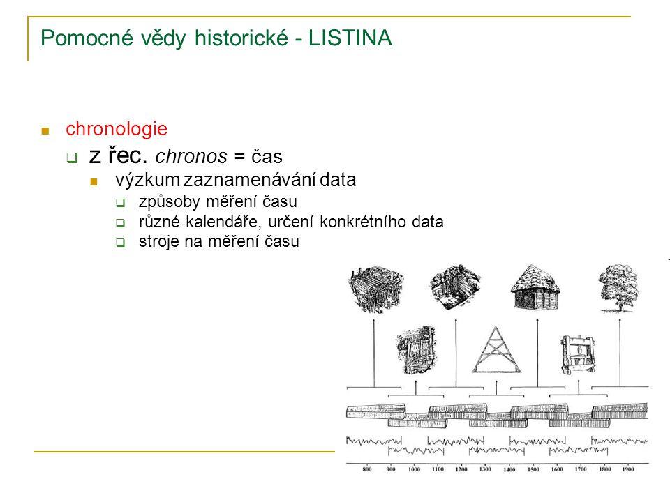 Pomocné vědy historické - LISTINA chronologie  z řec. chronos = čas výzkum zaznamenávání data  způsoby měření času  různé kalendáře, určení konkrét