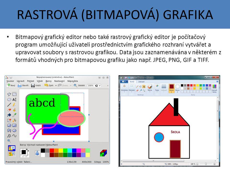 RASTROVÁ (BITMAPOVÁ) GRAFIKA Bitmapový grafický editor nebo také rastrový grafický editor je počítačový program umožňující uživateli prostřednictvím grafického rozhraní vytvářet a upravovat soubory s rastrovou grafikou.