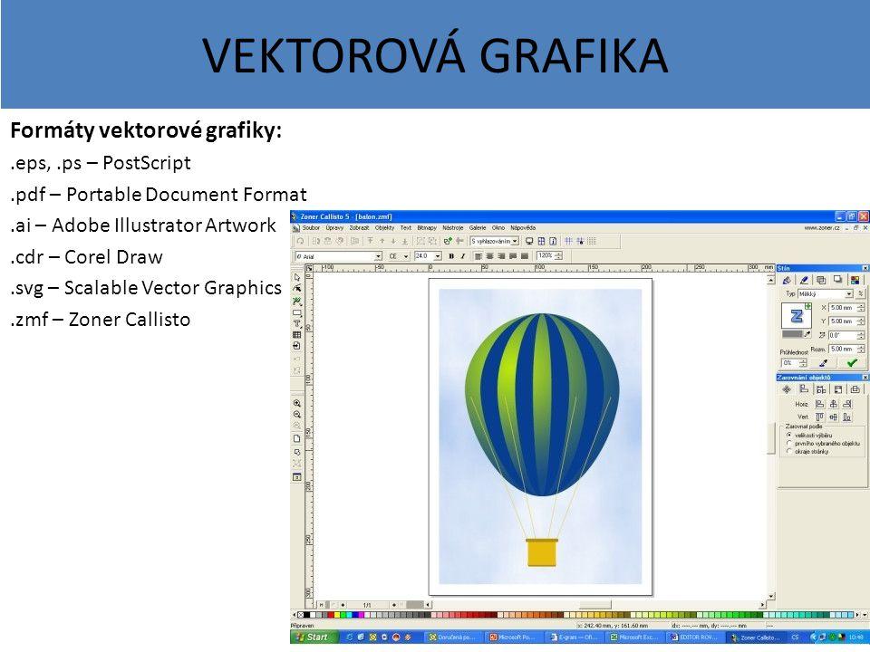 VEKTOROVÁ GRAFIKA Formáty vektorové grafiky:.eps,.ps – PostScript.pdf – Portable Document Format.ai – Adobe Illustrator Artwork.cdr – Corel Draw.svg –