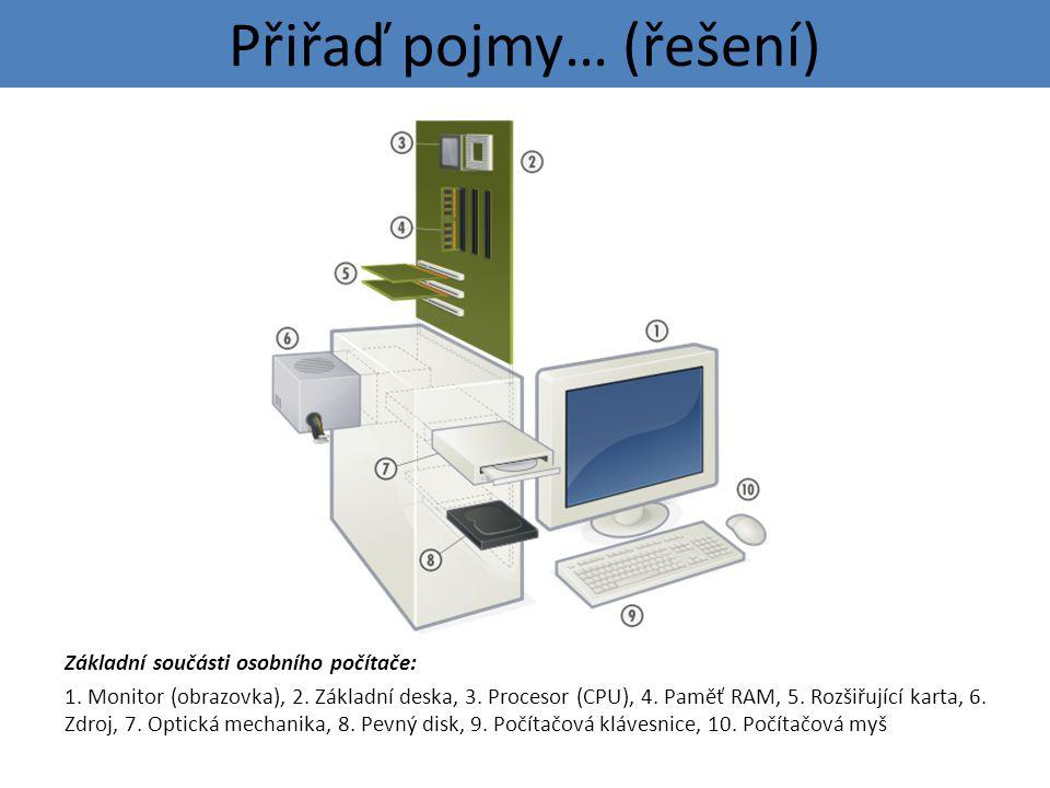 Přiřaď pojmy… (řešení) Základní součásti osobního počítače: 1.
