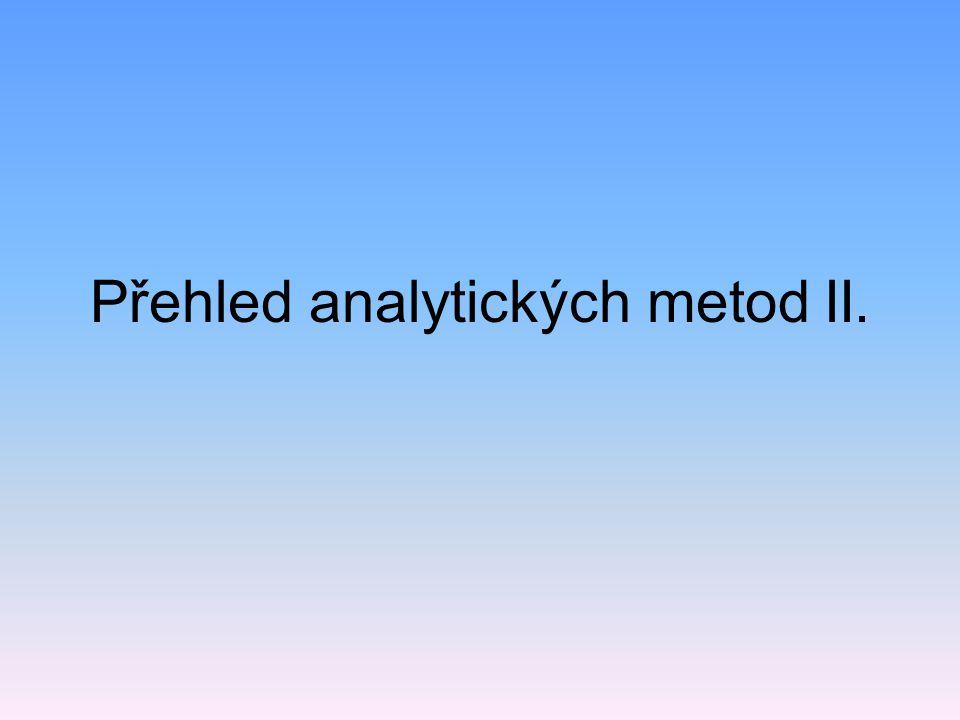 Využití UV/VIS spektrometrie kvalitativní analýza – poloha a intenzita pásů ve spektru (charakteristické pro chromoforní skupiny v molekule), atlasy spekter, malé rozdíly – často doplňkové informace k dalším metodám) kvantitativní stanovení látek (kalibrace) Kalibrační graf - fenol y = 0.1542x - 0.0236 R 2 = 0.9979 0 0.2 0.4 0.6 0.8 0246 koncentrace (mg/l) absorbance
