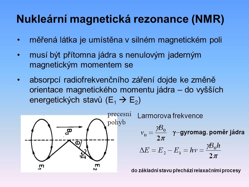 Nukleární magnetická rezonance (NMR) měřená látka je umístěna v silném magnetickém poli musí být přítomna jádra s nenulovým jaderným magnetickým momentem se absorpcí radiofrekvenčního záření dojde ke změně orientace magnetického momentu jádra – do vyšších energetických stavů (E 1  E 2 ) precesní pohyb Larmorova frekvence  gyromag.