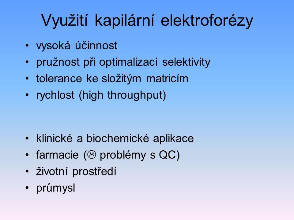Využití kapilární elektroforézy vysoká účinnost pružnost při optimalizaci selektivity tolerance ke složitým matricím rychlost (high throughput) klinické a biochemické aplikace farmacie (  problémy s QC) životní prostředí průmysl