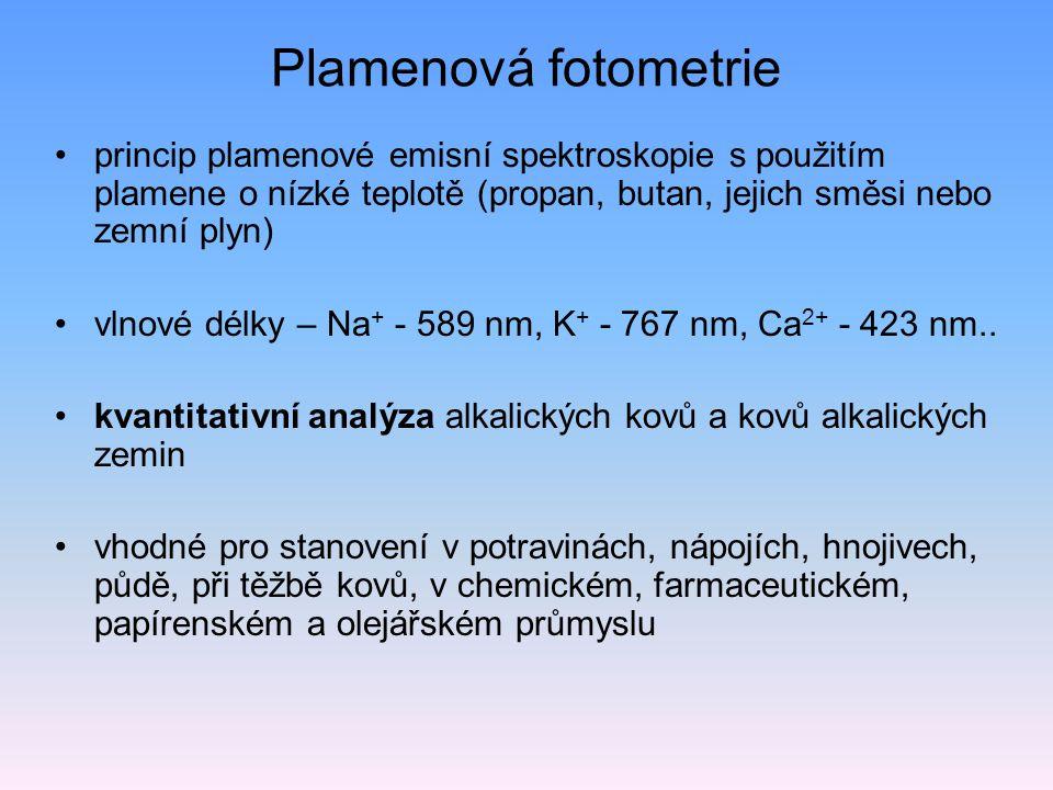 Atomová emisní spektrometrie atomizace a excitace atomů – zářivá deexcitace působení vysokých energií čím složitější elektronový obal atomu, tím složitější spektrum (větší počet čar ve spektru) čáry neionizovaných atomů, iontů budící zdroj – záření (lasery), elektrická energie (oblouky, jiskry, výboje, plazmatron), chemické energie (plameny) disperzní systém (mřížka, hranol ) detekce – fotonásobič (historie – fotografická deska) kvantometry – rychlá multielementární analýza