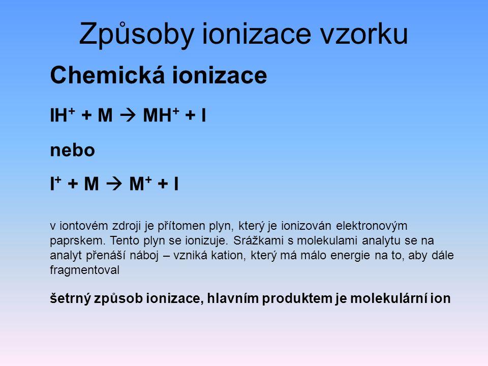 Způsoby ionizace vzorku Chemická ionizace v iontovém zdroji je přítomen plyn, který je ionizován elektronovým paprskem.