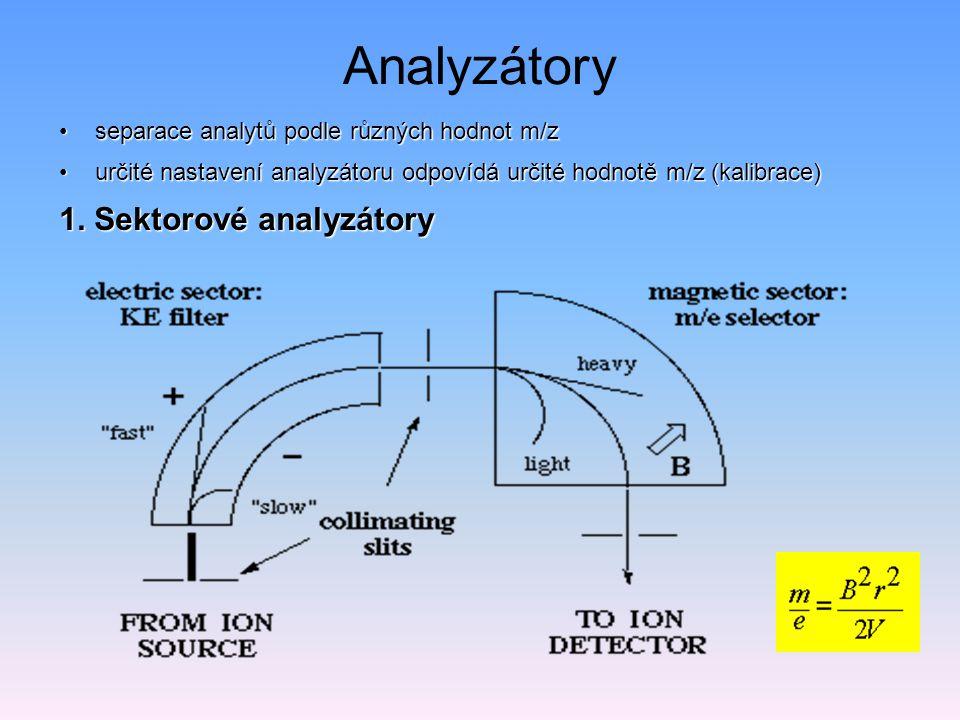 Analyzátory separace analytů podle různých hodnot m/zseparace analytů podle různých hodnot m/z určité nastavení analyzátoru odpovídá určité hodnotě m/z (kalibrace)určité nastavení analyzátoru odpovídá určité hodnotě m/z (kalibrace) 1.