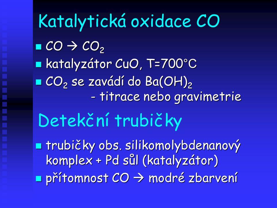Katalytická oxidace CO CO  CO 2 CO  CO 2 katalyzátor CuO, T=700 °C katalyzátor CuO, T=700 °C CO 2 se zavádí do Ba(OH) 2 - titrace nebo gravimetrie CO 2 se zavádí do Ba(OH) 2 - titrace nebo gravimetrie Detekční trubičky trubičky obs.