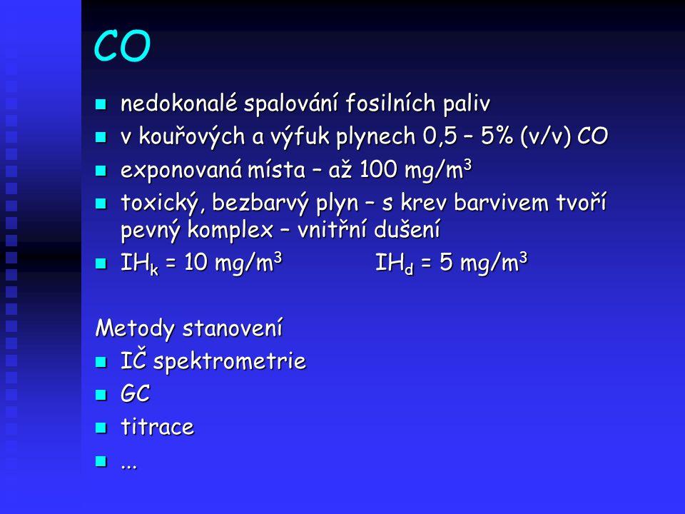 CO nedokonalé spalování fosilních paliv nedokonalé spalování fosilních paliv v kouřových a výfuk plynech 0,5 – 5% (v/v) CO v kouřových a výfuk plynech 0,5 – 5% (v/v) CO exponovaná místa – až 100 mg/m 3 exponovaná místa – až 100 mg/m 3 toxický, bezbarvý plyn – s krev barvivem tvoří pevný komplex – vnitřní dušení toxický, bezbarvý plyn – s krev barvivem tvoří pevný komplex – vnitřní dušení IH k = 10 mg/m 3 IH d = 5 mg/m 3 IH k = 10 mg/m 3 IH d = 5 mg/m 3 Metody stanovení IČ spektrometrie IČ spektrometrie GC GC titrace titrace......