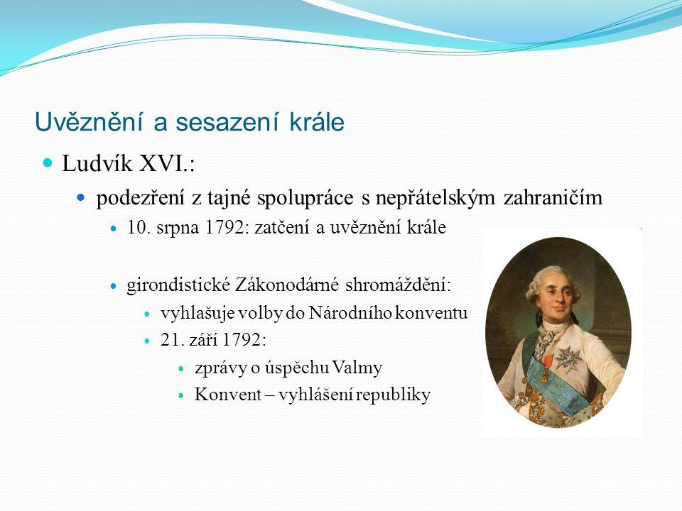 Uvěznění a sesazení krále Ludvík XVI.: podezření z tajné spolupráce s nepřátelským zahraničím 10. srpna 1792: zatčení a uvěznění krále girondistické Z