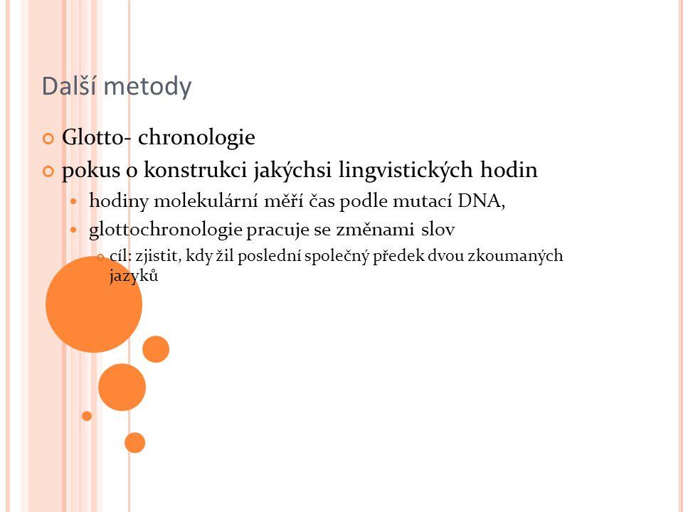 Další metody Glotto- chronologie pokus o konstrukci jakýchsi lingvistických hodin hodiny molekulární měří čas podle mutací DNA, glottochronologie pracuje se změnami slov cíl: zjistit, kdy žil poslední společný předek dvou zkoumaných jazyků