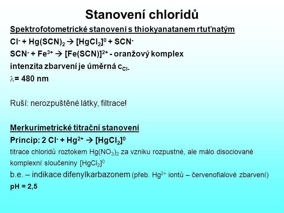 Stanovení chloridů Spektrofotometrické stanovení s thiokyanatanem rtuťnatým Cl - + Hg(SCN) 2  [HgCl 2 ] 0 + SCN - SCN - + Fe 3+  [Fe(SCN)] 2+ - oranžový komplex intenzita zbarvení je úměrná c Cl- = 480 nm Ruší: nerozpuštěné látky, filtrace.