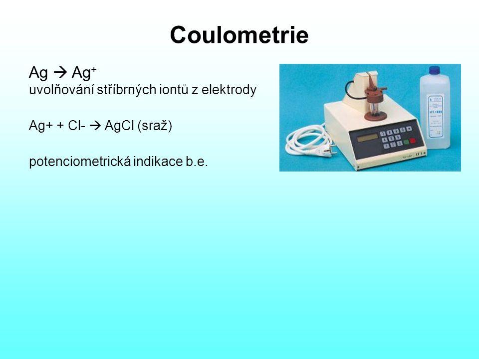 Coulometrie Ag  Ag + uvolňování stříbrných iontů z elektrody Ag+ + Cl-  AgCl (sraž) potenciometrická indikace b.e.