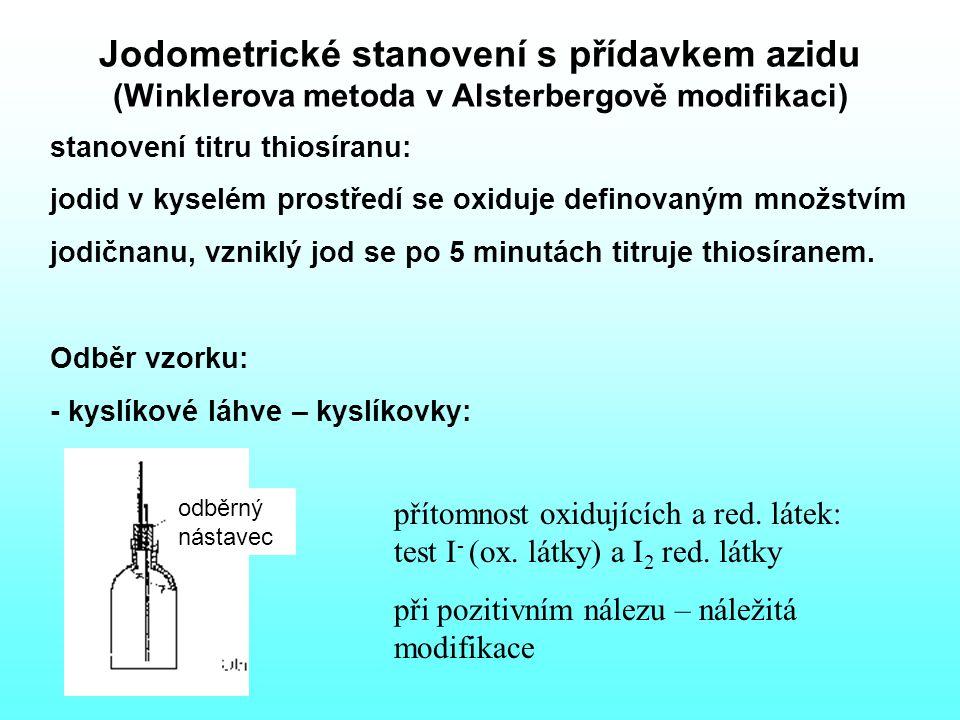 Jodometrické stanovení s přídavkem azidu (Winklerova metoda v Alsterbergově modifikaci) stanovení titru thiosíranu: jodid v kyselém prostředí se oxiduje definovaným množstvím jodičnanu, vzniklý jod se po 5 minutách titruje thiosíranem.