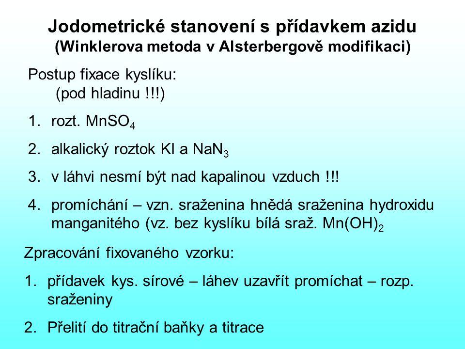 Jodometrické stanovení s přídavkem azidu (Winklerova metoda v Alsterbergově modifikaci) Postup fixace kyslíku: (pod hladinu !!!) 1.rozt.