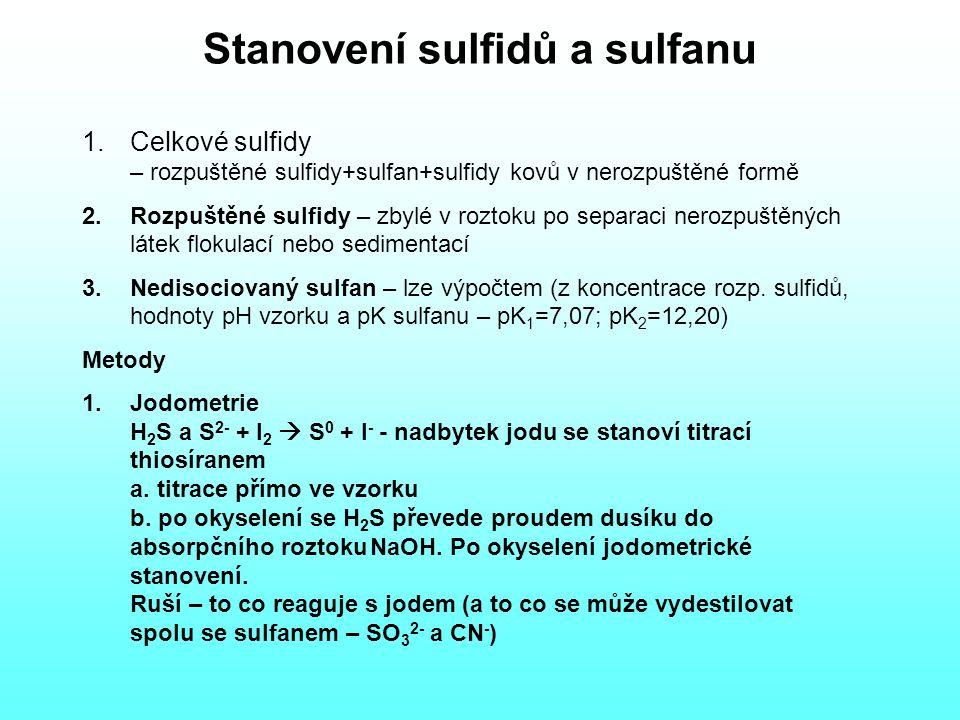 Stanovení sulfidů a sulfanu 1.Celkové sulfidy – rozpuštěné sulfidy+sulfan+sulfidy kovů v nerozpuštěné formě 2.Rozpuštěné sulfidy – zbylé v roztoku po separaci nerozpuštěných látek flokulací nebo sedimentací 3.Nedisociovaný sulfan – lze výpočtem (z koncentrace rozp.