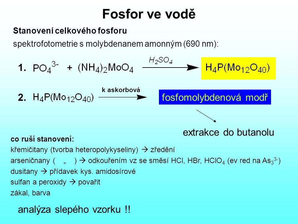 Aktivní chlor Jodometrické stanovení Princip: Cl 2 + 2I -  2 Cl - + I 2 I 2 + 2 S 2 O 3 2-  2 I - + S 4 O 6 2- ev: přebytek S 2 O 3 2- titrovat IO 3 - IO 3 - + 6 S 2 O 3 2- + 6 H +  I - + 3 S 4 O 6 2- + 3 H 2 O indikátor – škrobový maz Rušivé vlivy: silné oxidační látky, I 2, jodaminy, bromaminy, ClO 2, MnO 4 -, O 3, H 2 O 2, dusitany, Fe vliv dusitanu, Mn, Fe – titrace v prostředí kyseliny octové rušivý vliv redukujících látek – postup s nadbytkem S 2 O 3 2-