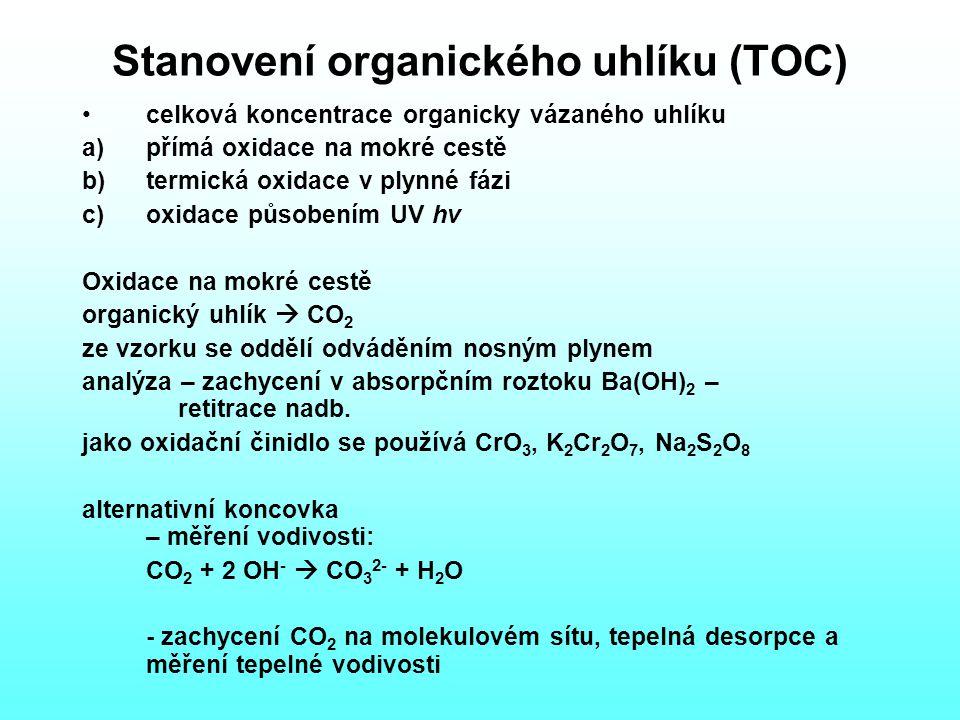 Stanovení organického uhlíku (TOC) celková koncentrace organicky vázaného uhlíku a)přímá oxidace na mokré cestě b)termická oxidace v plynné fázi c)oxidace působením UV hv Oxidace na mokré cestě organický uhlík  CO 2 ze vzorku se oddělí odváděním nosným plynem analýza – zachycení v absorpčním roztoku Ba(OH) 2 – retitrace nadb.