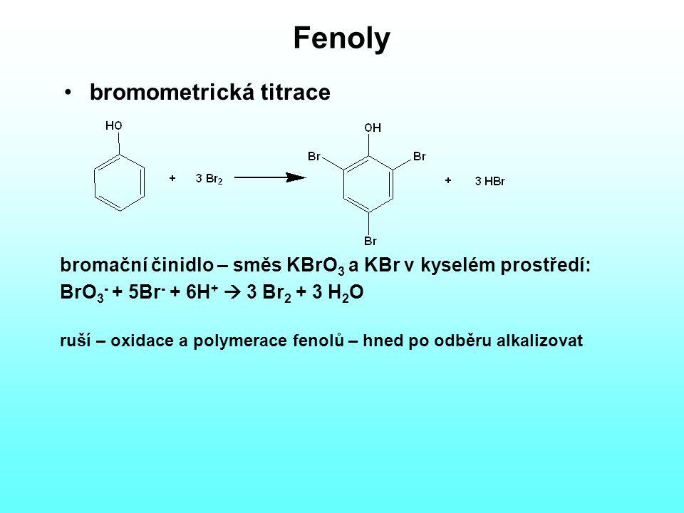 Fenoly bromometrická titrace bromační činidlo – směs KBrO 3 a KBr v kyselém prostředí: BrO 3 - + 5Br - + 6H +  3 Br 2 + 3 H 2 O ruší – oxidace a polymerace fenolů – hned po odběru alkalizovat