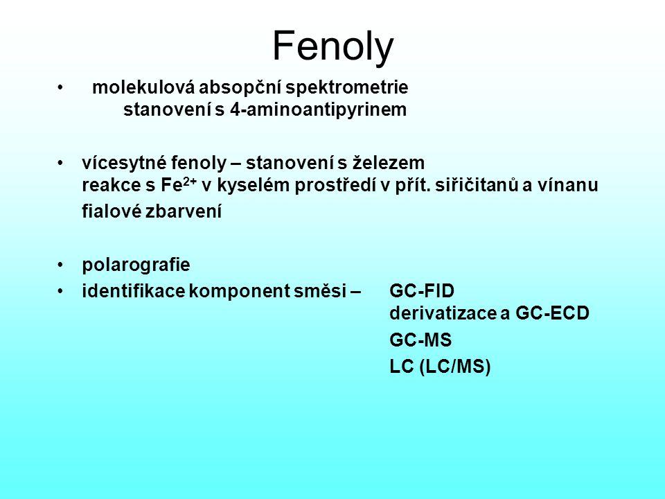Fenoly molekulová absopční spektrometrie stanovení s 4-aminoantipyrinem vícesytné fenoly – stanovení s železem reakce s Fe 2+ v kyselém prostředí v přít.