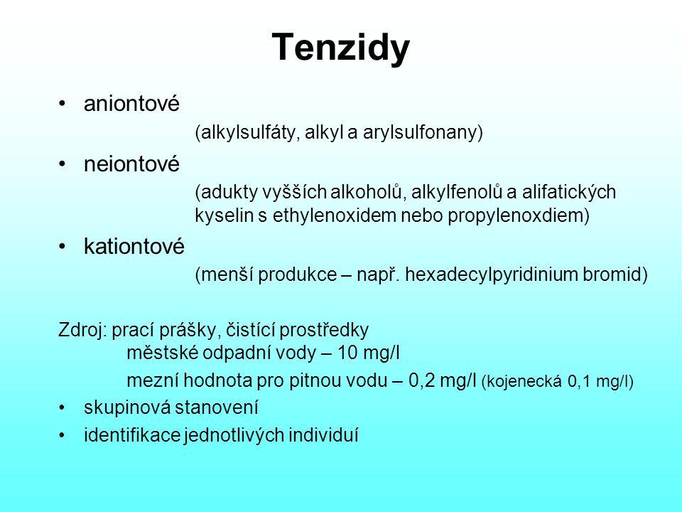 Tenzidy aniontové (alkylsulfáty, alkyl a arylsulfonany) neiontové (adukty vyšších alkoholů, alkylfenolů a alifatických kyselin s ethylenoxidem nebo propylenoxdiem) kationtové (menší produkce – např.