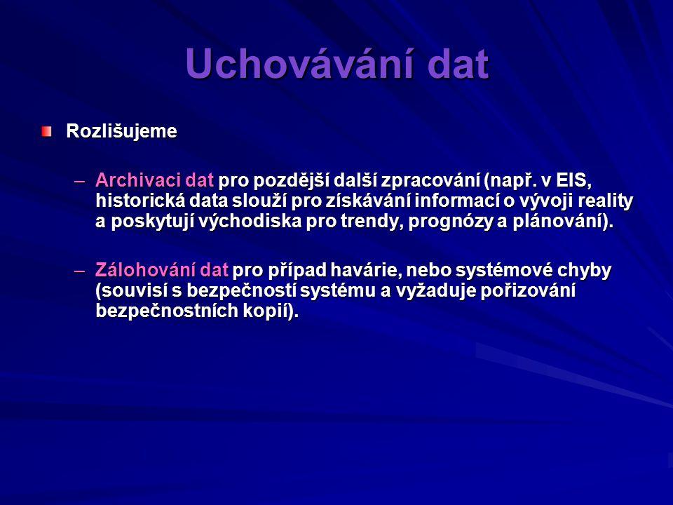 Uchovávání dat Rozlišujeme –Archivaci dat pro pozdější další zpracování (např.
