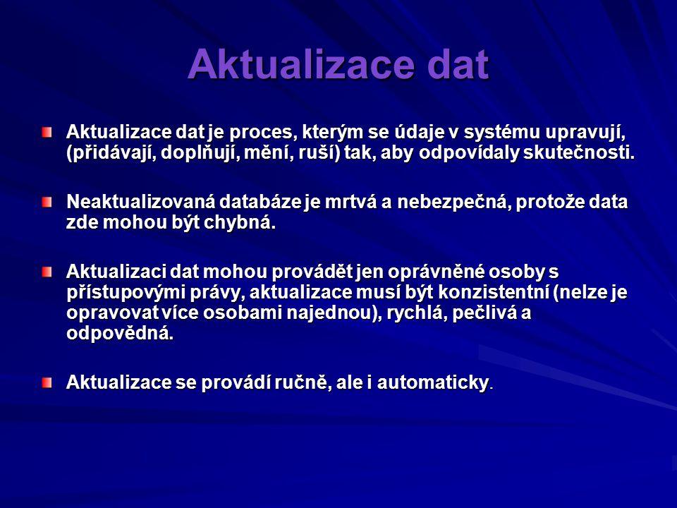Aktualizace dat Aktualizace dat je proces, kterým se údaje v systému upravují, (přidávají, doplňují, mění, ruší) tak, aby odpovídaly skutečnosti.