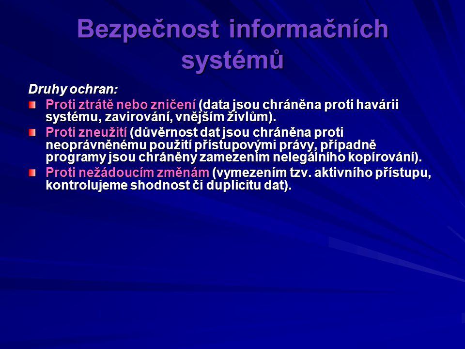Bezpečnost informačních systémů Druhy ochran: Proti ztrátě nebo zničení (data jsou chráněna proti havárii systému, zavirování, vnějším živlům).