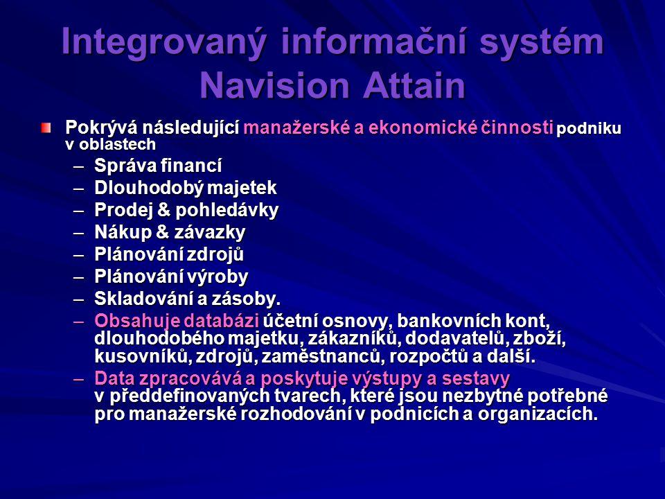 Integrovaný informační systém Navision Attain Pokrývá následující manažerské a ekonomické činnosti podniku v oblastech –Správa financí –Dlouhodobý majetek –Prodej & pohledávky –Nákup & závazky –Plánování zdrojů –Plánování výroby –Skladování a zásoby.