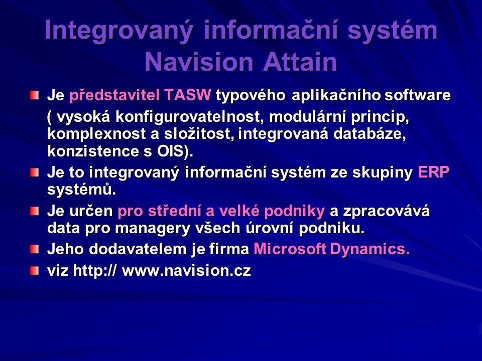 Integrovaný informační systém Navision Attain Je představitel TASW typového aplikačního software ( vysoká konfigurovatelnost, modulární princip, komplexnost a složitost, integrovaná databáze, konzistence s OIS).