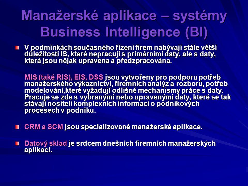 Manažerské aplikace – systémy Business Intelligence (BI) V podmínkách současného řízení firem nabývají stále větší důležitosti IS, které nepracují s primárními daty, ale s daty, která jsou nějak upravena a předzpracována.