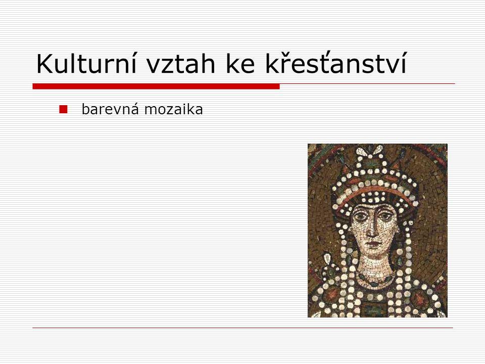 Kulturní vztah ke křesťanství barevná mozaika
