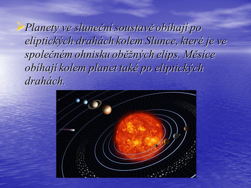  Planety ve sluneční soustavě obíhají po eliptických drahách kolem Slunce, které je ve společném ohnisku oběžných elips. Měsíce obíhají kolem planet