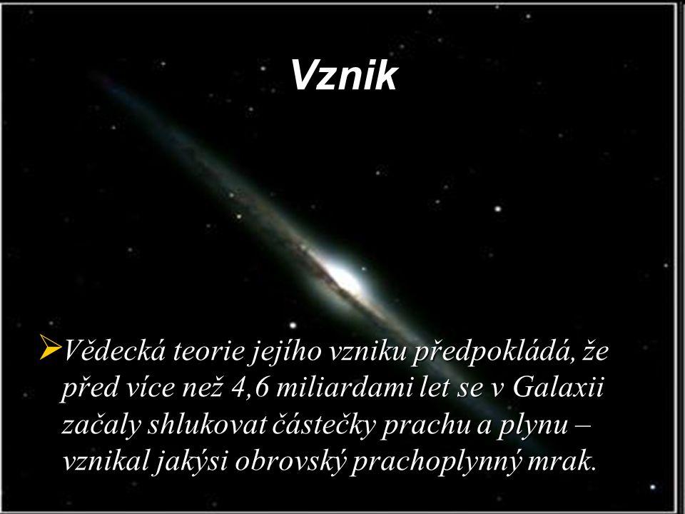Vznik  Vědecká teorie jejího vzniku předpokládá, že před více než 4,6 miliardami let se v Galaxii začaly shlukovat částečky prachu a plynu – vznikal