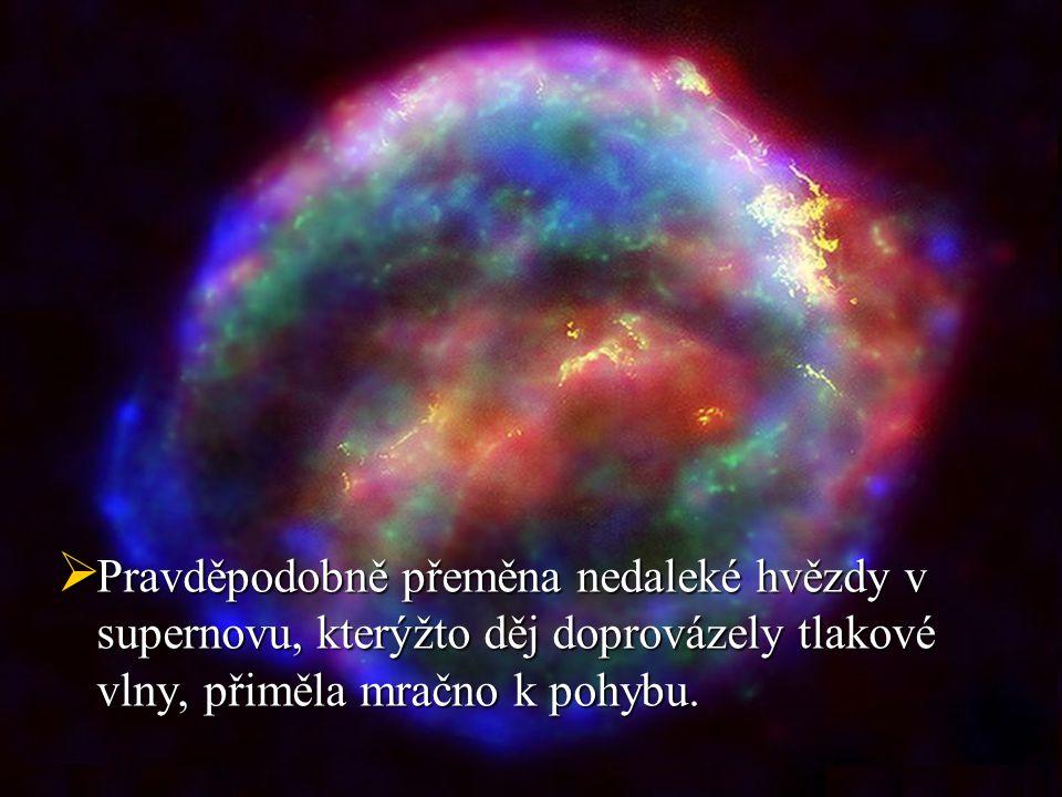  Pravděpodobně přeměna nedaleké hvězdy v supernovu, kterýžto děj doprovázely tlakové vlny, přiměla mračno k pohybu.