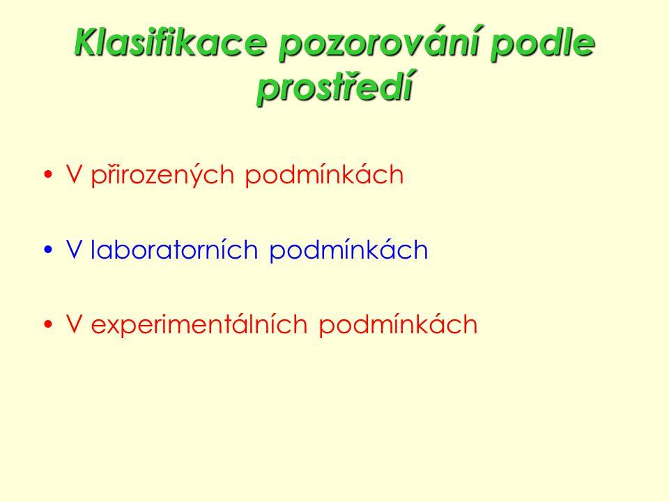 Klasifikace pozorování podle prostředí V přirozených podmínkách V laboratorních podmínkách V experimentálních podmínkách
