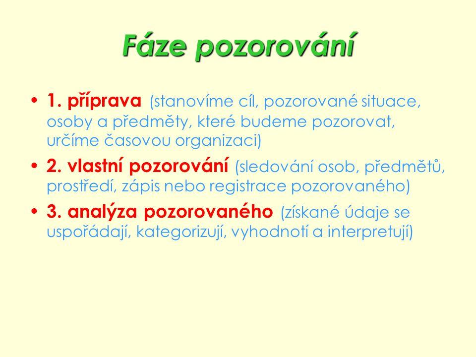 Fáze pozorování 1. příprava (stanovíme cíl, pozorované situace, osoby a předměty, které budeme pozorovat, určíme časovou organizaci) 2. vlastní pozoro