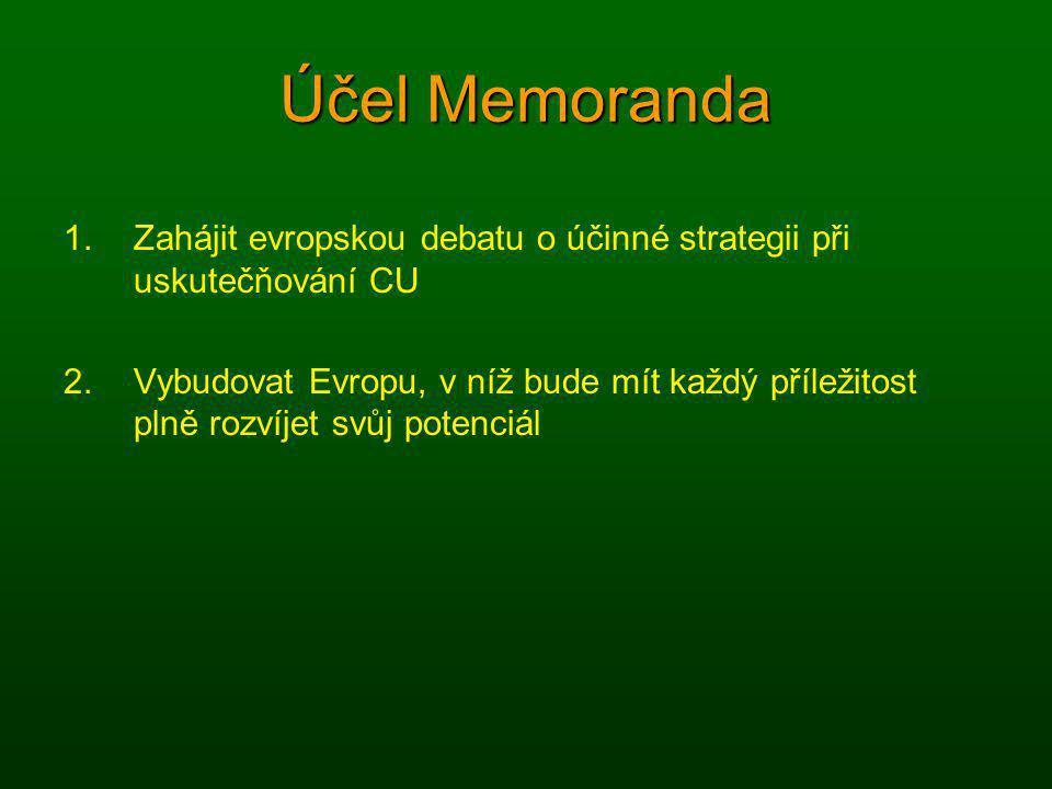 Účel Memoranda 1.Zahájit evropskou debatu o účinné strategii při uskutečňování CU 2.Vybudovat Evropu, v níž bude mít každý příležitost plně rozvíjet s