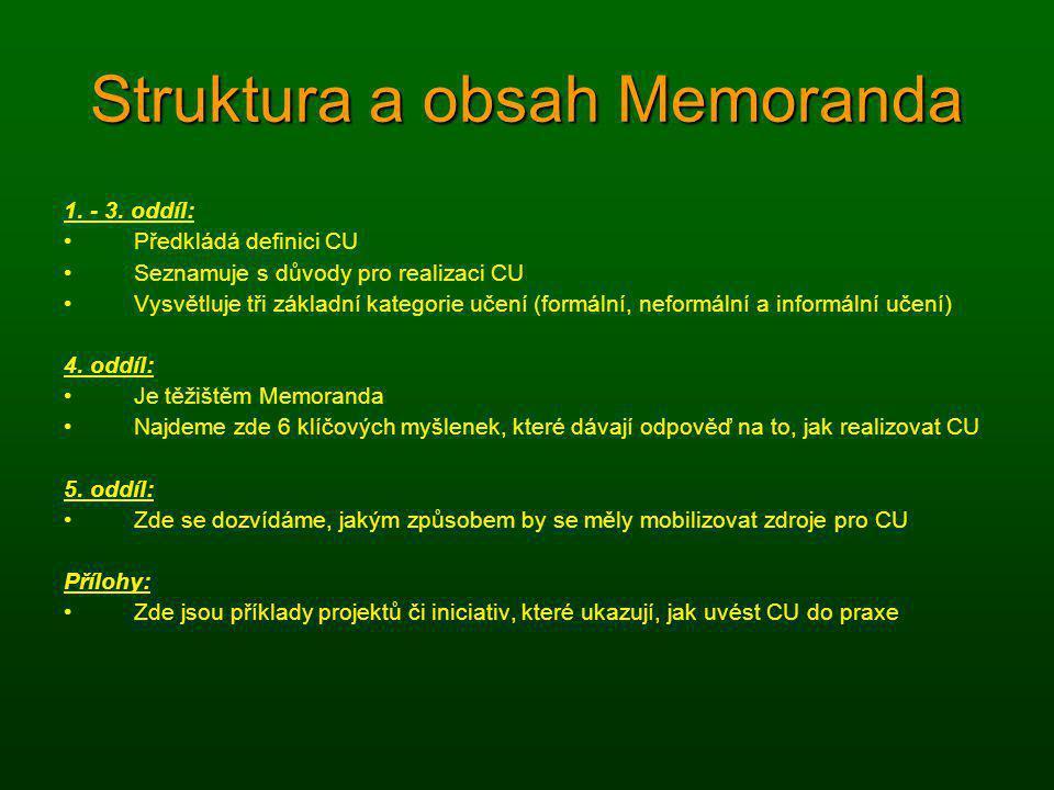 Struktura a obsah Memoranda 1. - 3. oddíl: Předkládá definici CU Seznamuje s důvody pro realizaci CU Vysvětluje tři základní kategorie učení (formální