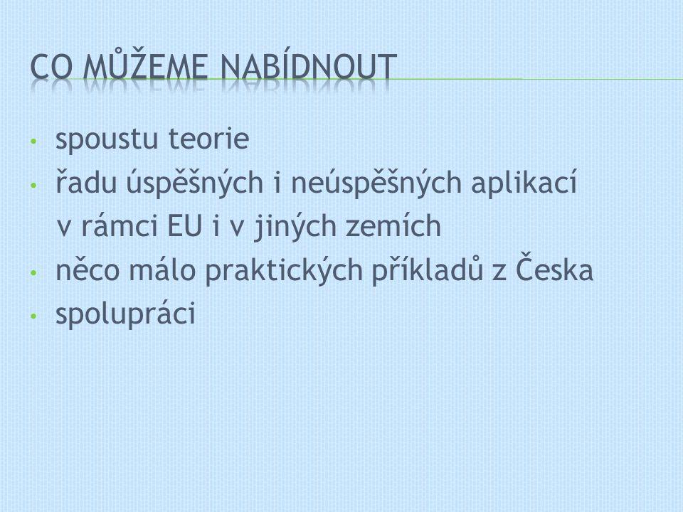 spoustu teorie řadu úspěšných i neúspěšných aplikací v rámci EU i v jiných zemích něco málo praktických příkladů z Česka spolupráci